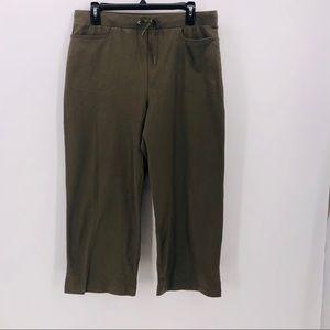Danskin cropped pants drawstring stretch olive L